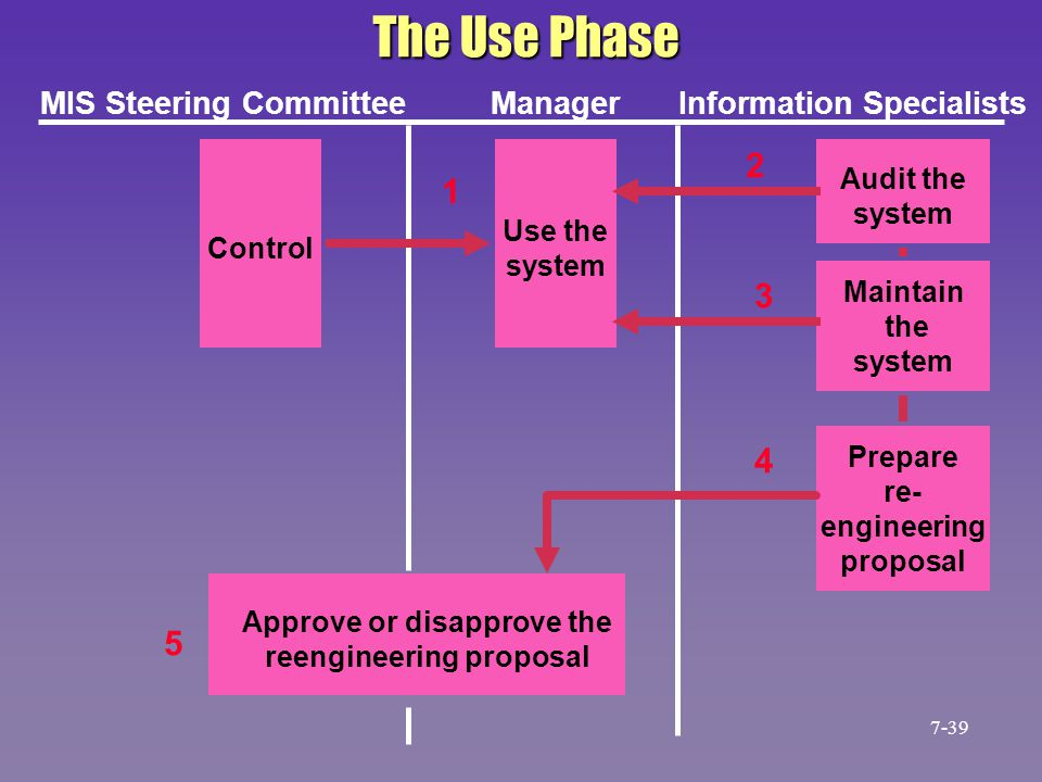 The Use Phase Control Use the system Audit the system Maintain the system Prepare re- engineering proposal Approve or disapprove the reengineering pro