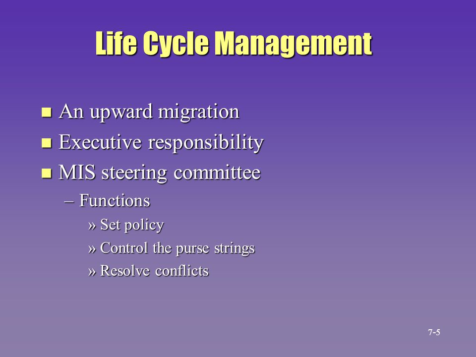 Life Cycle Management n An upward migration n Executive responsibility n MIS steering committee –Functions »Set policy »Control the purse strings »Res