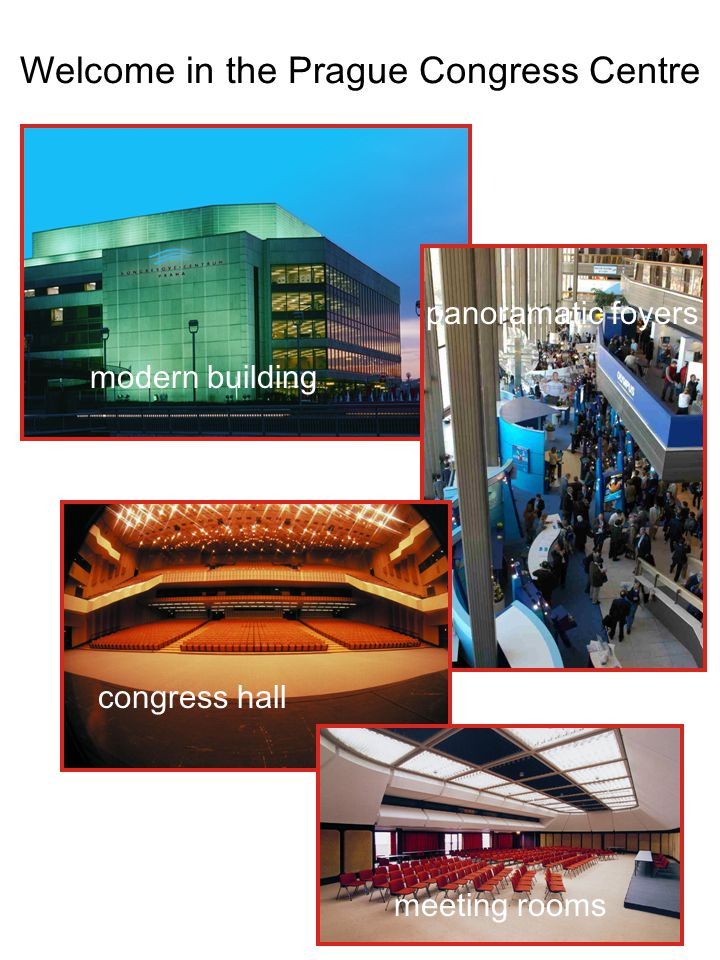 Welcome in the Prague Congress Centre modern building panoramatic foyers congress hall meeting rooms