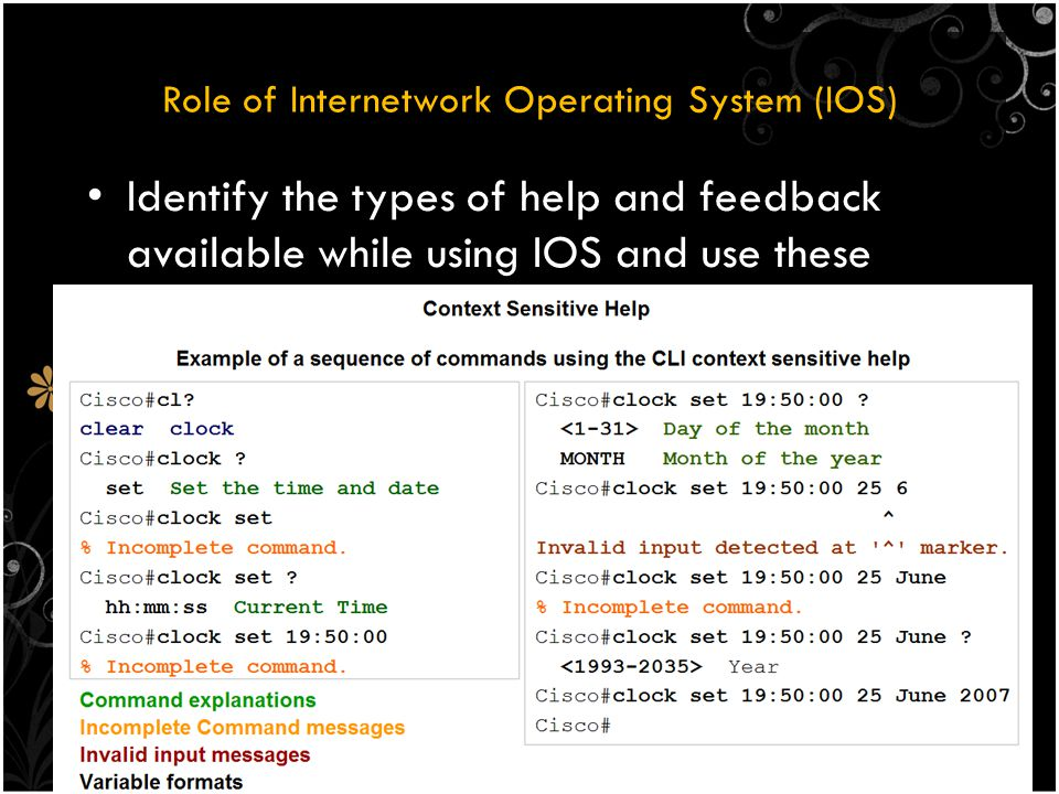 Role of Internetwork Operating System (IOS) Identify the types of help and feedback available while using IOS and use these features to get help, take shortcuts and ascertain success