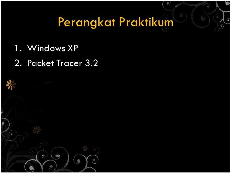 Perangkat Praktikum 1.Windows XP 2.Packet Tracer 3.2
