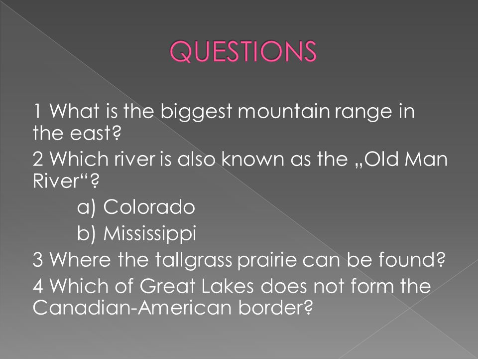1 What is the biggest mountain range in the east.