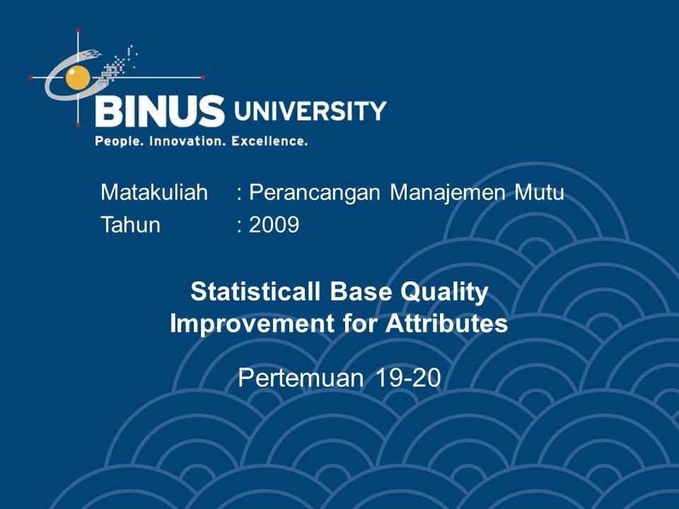 Statisticall Base Quality Improvement for Attributes Pertemuan 19-20 Matakuliah: Perancangan Manajemen Mutu Tahun: 2009