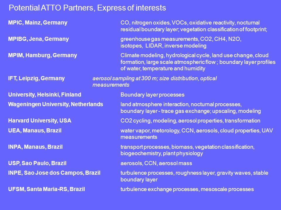Potential ATTO Partners, Express of interests MPIC, Mainz, GermanyCO, nitrogen oxides, VOCs, oxidative reactivity, nocturnal residual boundary layer; vegetation classification of footprint; MPIBG, Jena, Germany greenhouse gas measurements, CO2, CH4, N2O, isotopes, LIDAR, inverse modeling MPIM, Hamburg, GermanyClimate modeling, hydrological cycle, land use change, cloud formation, large scale atmospheric flow ; boundary layer profiles of water, temperature and humidity IFT, Leipzig, Germanyaerosol sampling at 300 m; size distribution, optical measurements University, Helsinki, FinlandBoundary layer processes Wageningen University, Netherlandsland atmosphere interaction, nocturnal processes, boundary layer - trace gas exchange; upscaling, modeling Harvard University, USA CO2 cycling, modeling, aerosol properties, transformation UEA, Manaus, Brazilwater vapor, metorology, CCN, aerosols, cloud properties, UAV measurements INPA, Manaus, Brazil transport processes, biomass, vegetation classification, biogeochemistry, plant physiology USP, Sao Paulo, Brazil aerosols, CCN, aerosol mass INPE, Sao Jose dos Campos, Brazilturbulence processes, roughness layer, gravity waves, stable boundary layer UFSM, Santa Maria-RS, Brazil turbulence exchange processes, mesoscale processes