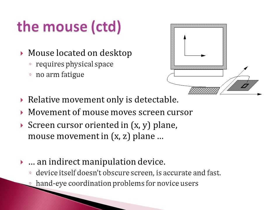  Mouse located on desktop ◦ requires physical space ◦ no arm fatigue  Relative movement only is detectable.  Movement of mouse moves screen cursor