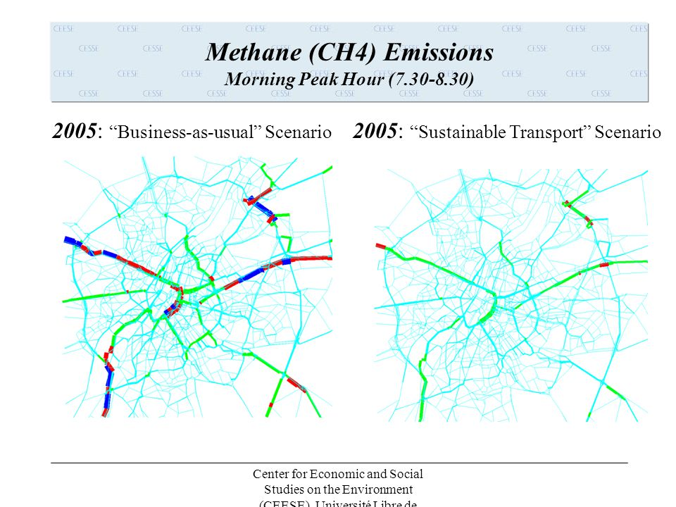 Center for Economic and Social Studies on the Environment (CEESE), Université Libre de Bruxelles (ULB) Carbon Dioxide CO2 Emissions Morning Peak Hour (7.30-8.30) 2005: Business-as-usual Scenario 2005: Sustainable Transport Scenario
