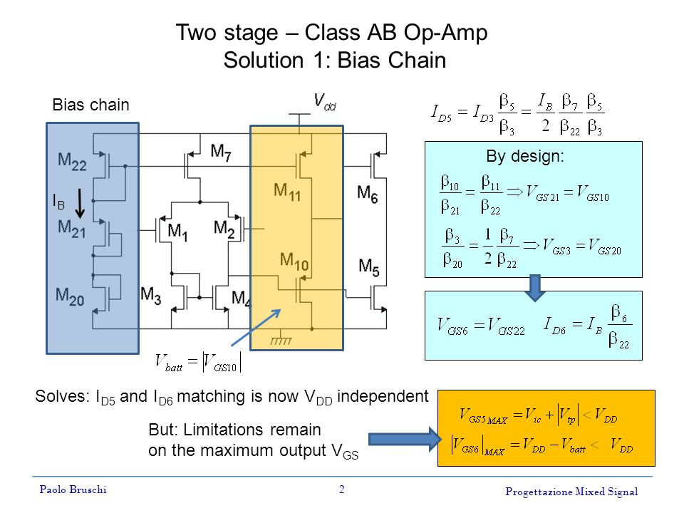 Progettazione Mixed Signal Paolo Bruschi2 Two stage – Class AB Op-Amp Solution 1: Bias Chain Solves: I D5 and I D6 matching is now V DD independent IBIB But: Limitations remain on the maximum output V GS Bias chain By design:
