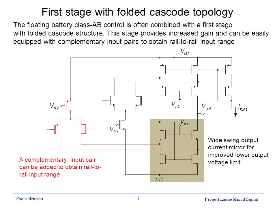 Progettazione Mixed Signal Paolo Bruschi4 First stage with folded cascode topology Wide swing output current mirror for improved lower output voltage limit.