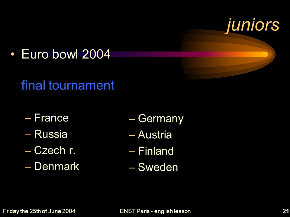 Friday the 25th of June 2004ENST Paris - english lesson21 juniors Euro bowl 2004 final tournament –France –Russia –Czech r.