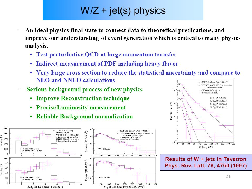 U.GaspariniCorso SM, Dottorato, XX ciclo21 W/Z + jet(s) physics –An ideal physics final state to connect data to theoretical predications, and improve our understanding of event generation which is critical to many physics analysis: Test perturbative QCD at large momentum transfer Indirect measurement of PDF including heavy flavor Very large cross section to reduce the statistical uncertainty and compare to NLO and NNLO calculations – Serious background process of new physics Improve Reconstruction technique Precise Luminosity measurement Reliable Background normalization Results of W + jets in Tevatron Phys.