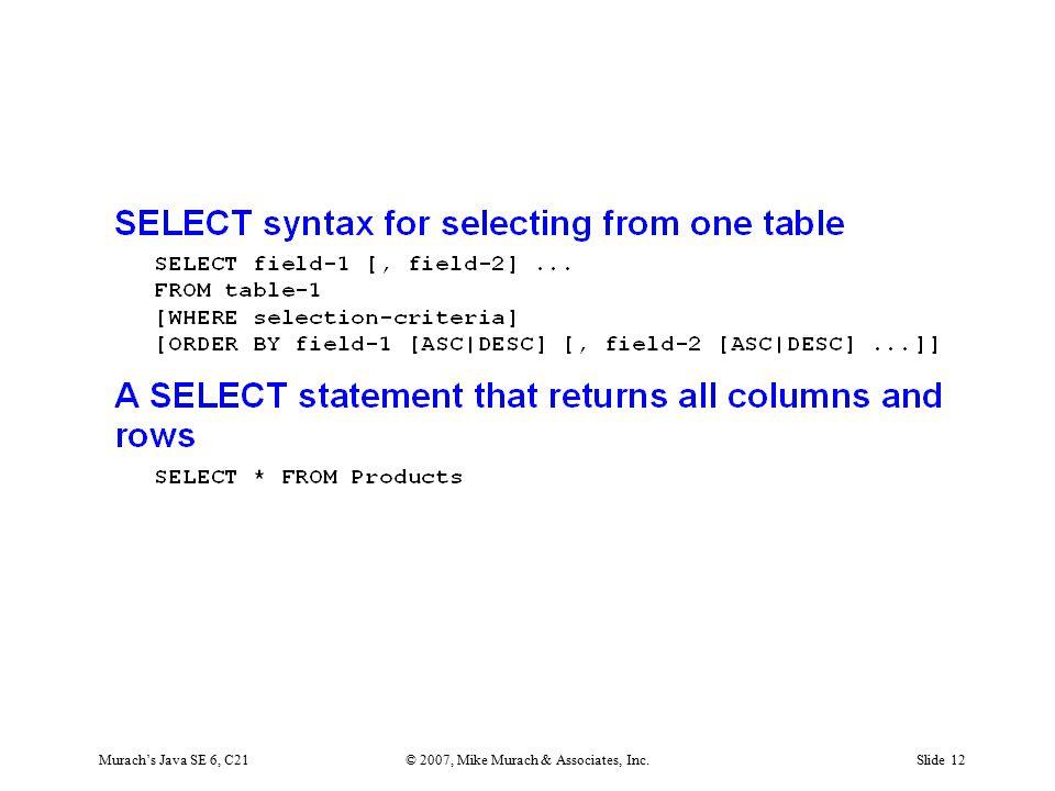 Murach's Java SE 6, C21© 2007, Mike Murach & Associates, Inc.Slide 12