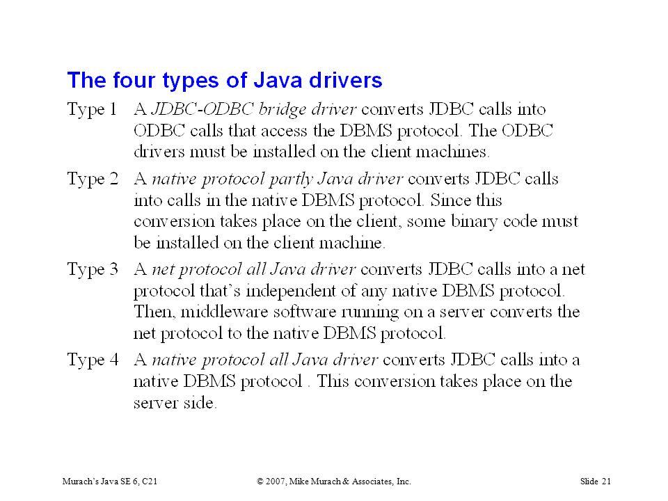 Murach's Java SE 6, C21© 2007, Mike Murach & Associates, Inc.Slide 21