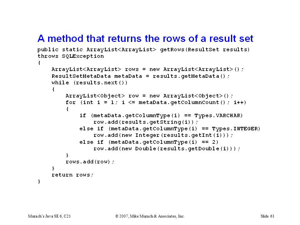 Murach's Java SE 6, C21© 2007, Mike Murach & Associates, Inc.Slide 61