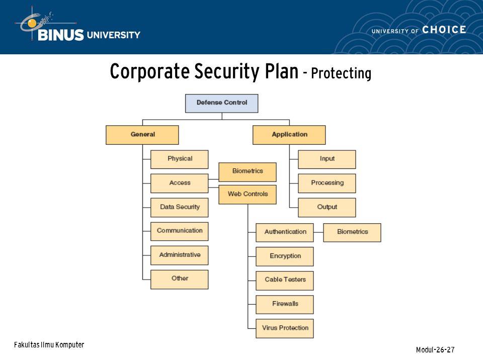 Fakultas Ilmu Komputer Modul-26-27 Corporate Security Plan - Protecting
