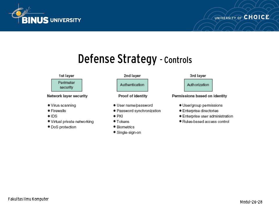 Fakultas Ilmu Komputer Modul-26-28 Defense Strategy - Controls