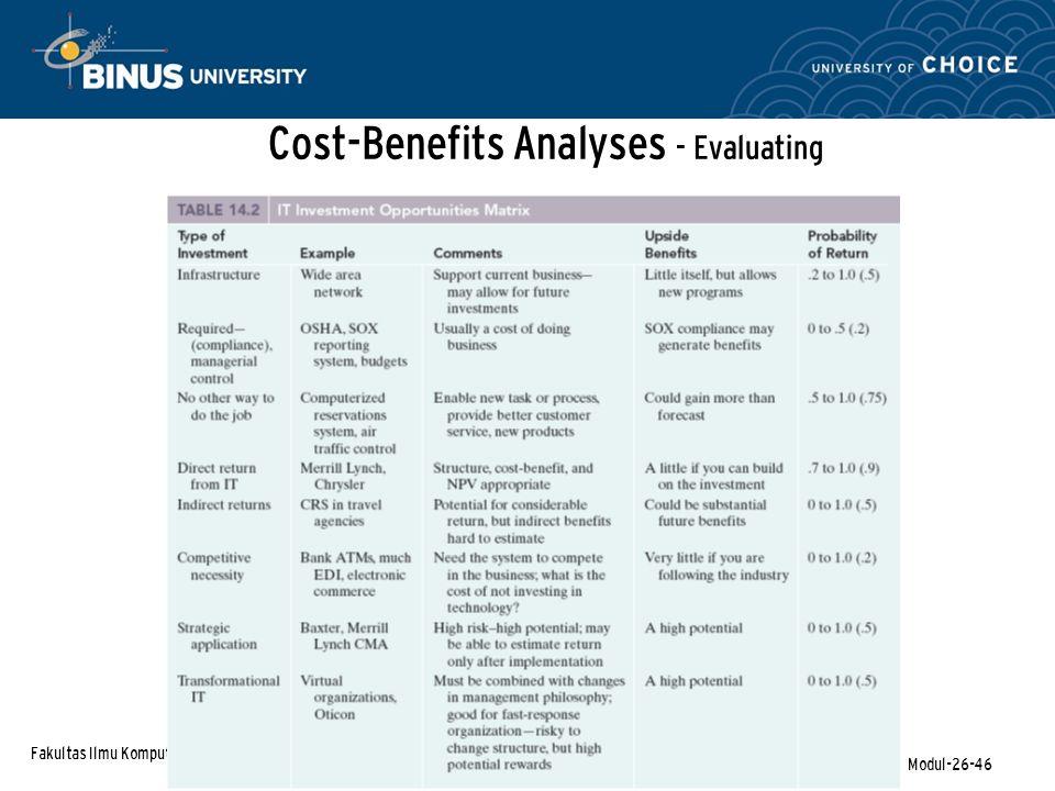 Fakultas Ilmu Komputer Modul-26-46 Cost-Benefits Analyses - Evaluating