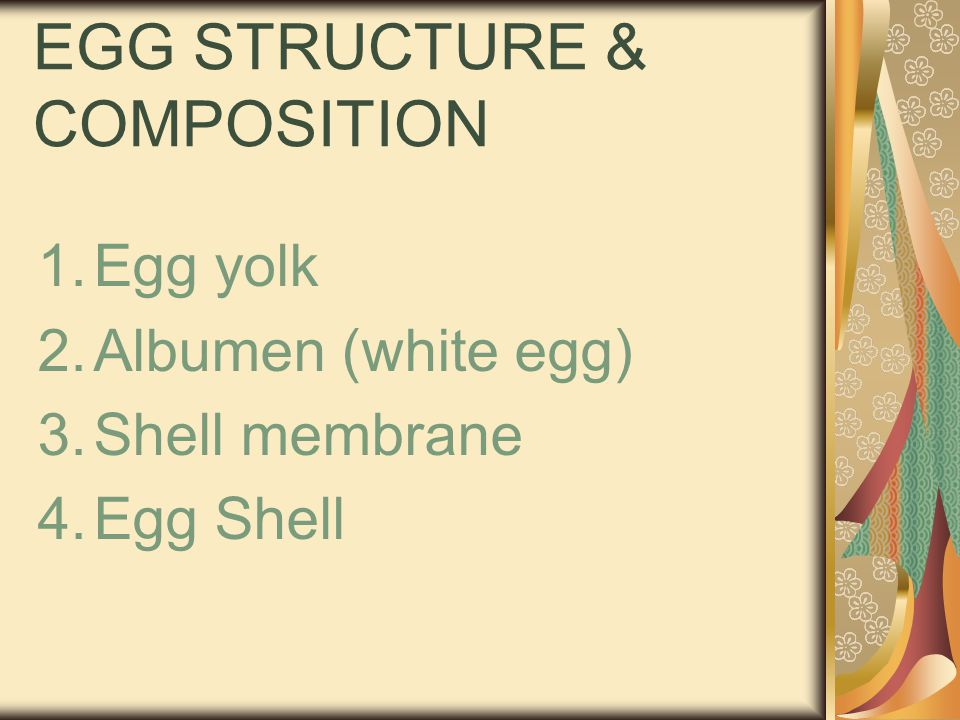 Composition of Eggshell Consisted of: Shell dan shell membrane Outer layer: cuticle Protein : collagen/ similarly with bone protein and cartilage Ca CO3 : 94% Mg CO3 : 1% Ca PO4 : 1% Organic matter : 4 % shell Membrane : - 4-5 % of the weight of egg shell - containing: protein, water & mineral - Protein : ovocreatine, with sulfur content about 1,5 – 3 kali higher than sulfur content in albumen