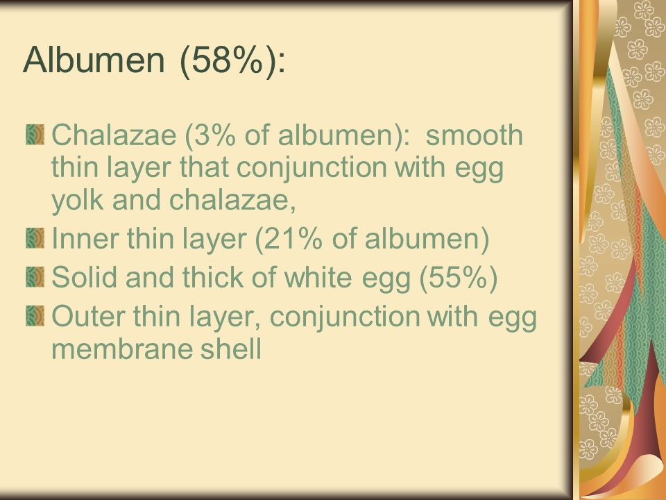 Egg Shell Mebrane : Fibrous & harsh Compose of protein that similar as well as hair or feather Consisted of : - Inner shell membrane - Outer shell membrane Inner shell is thin down than outer shell