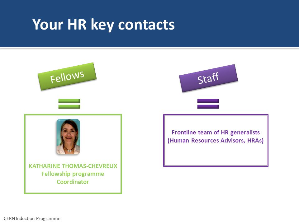 Your HR key contacts Fellows Staff Frontline team of HR generalists (Human Resources Advisors, HRAs) KATHARINE THOMAS-CHEVREUX Fellowship programme Coordinator CERN Induction Programme
