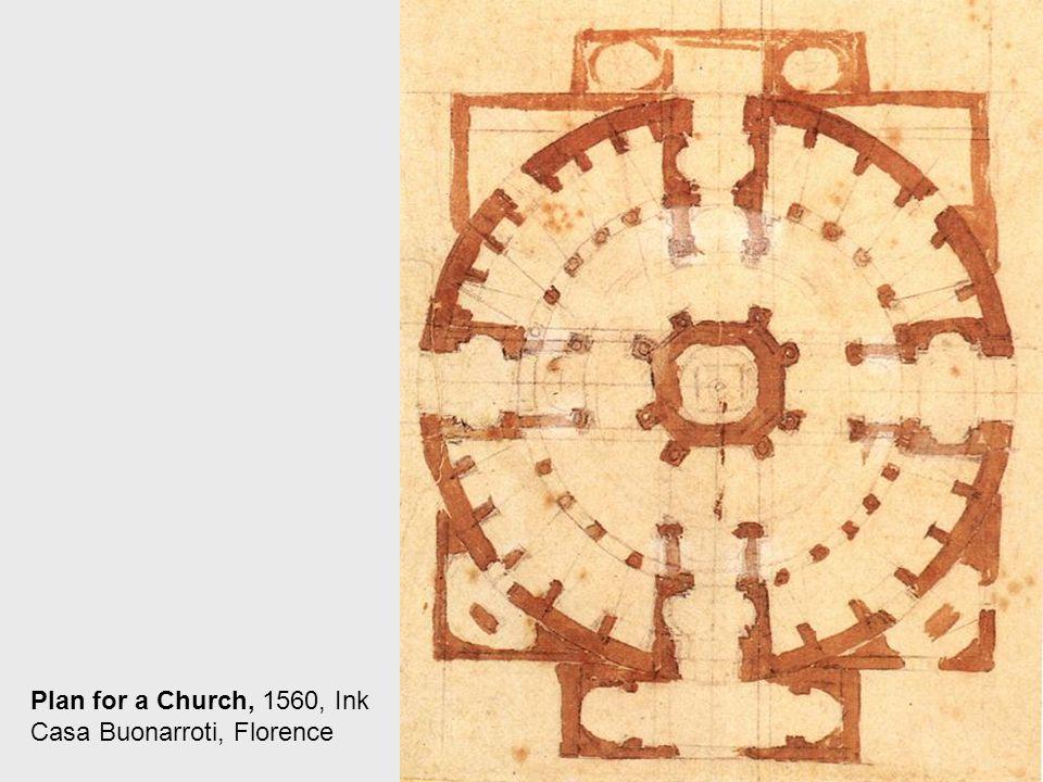 Ground Plan of the Lantern and Figure Sudies, 1546-49, Black chalk, 397 x 232 mm, Teylers Museum, Haarlem