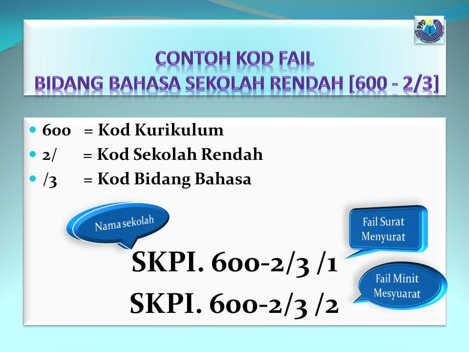 600 = Kod Kurikulum 2/ = Kod Sekolah Rendah /3 = Kod Bidang Bahasa SKPI. 600-2/3 /1 SKPI. 600-2/3 /2 600 = Kod Kurikulum 2/ = Kod Sekolah Rendah /3 =