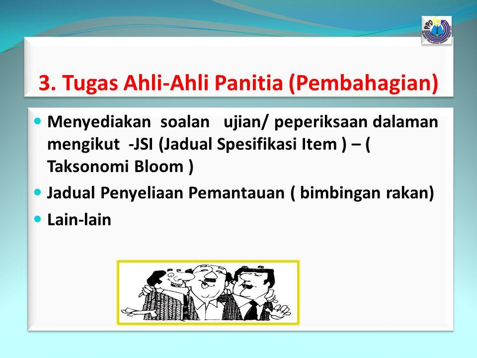 3. Tugas Ahli-Ahli Panitia (Pembahagian) Menyediakan soalan ujian/ peperiksaan dalaman mengikut -JSI (Jadual Spesifikasi Item ) – ( Taksonomi Bloom )