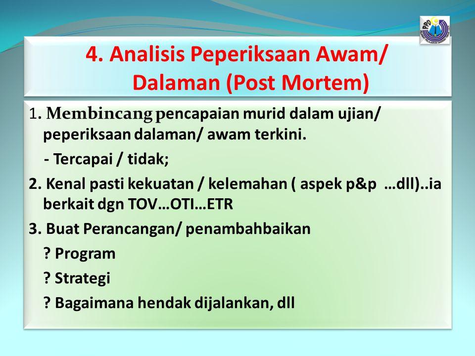 4. Analisis Peperiksaan Awam/ Dalaman (Post Mortem) 1. Membincang pencapaian murid dalam ujian/ peperiksaan dalaman/ awam terkini. - Tercapai / tidak;