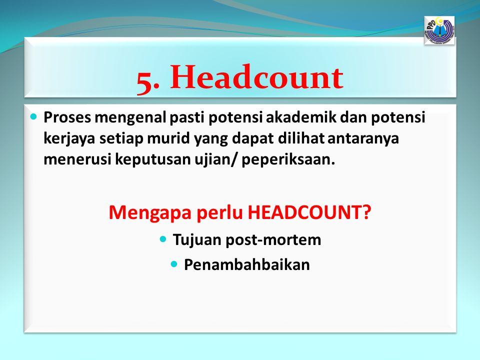 5. Headcount Proses mengenal pasti potensi akademik dan potensi kerjaya setiap murid yang dapat dilihat antaranya menerusi keputusan ujian/ peperiksaa