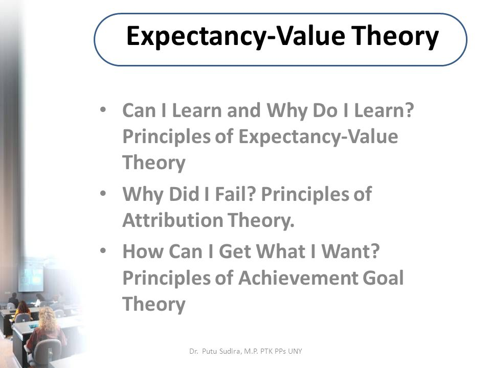 Expectancy-Value Theory Can I Learn and Why Do I Learn.