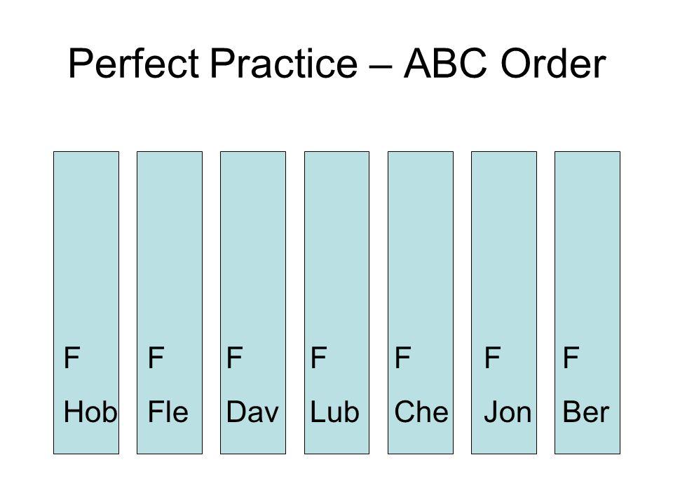 Perfect Practice – ABC Order F Ber F Jon F Hob F Fle F Dav F Che F Lub