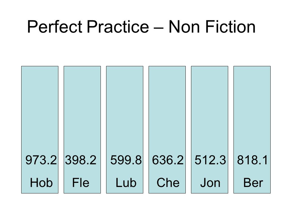 Perfect Practice – Non Fiction 973.2 Hob 818.1 Ber 512.3 Jon 636.2 Che 599.8 Lub 398.2 Fle