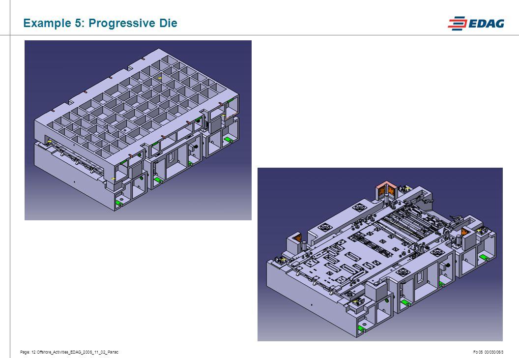Page: 12 Offshore_Activities_EDAG_2006_11_02_PanacFo 05 00/030/06/3 Example 5: Progressive Die