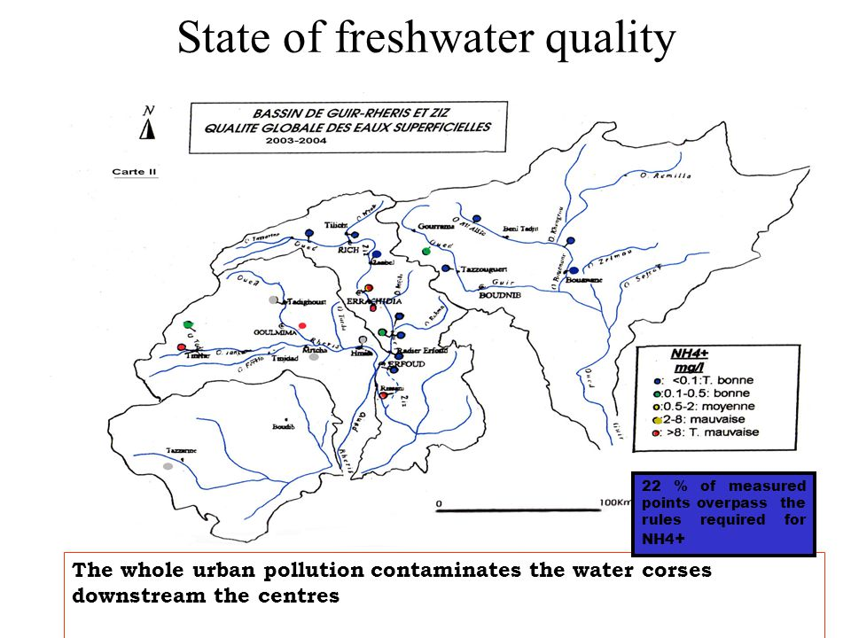 The whole urban pollution contaminates the water corses downstream the centres 22 % of measured points overpass the rules required for NH4 + State of freshwater quality