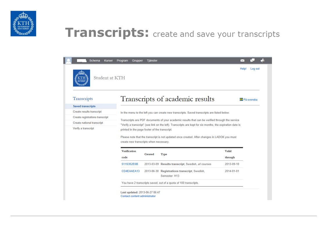 Transcripts: create and save your transcripts