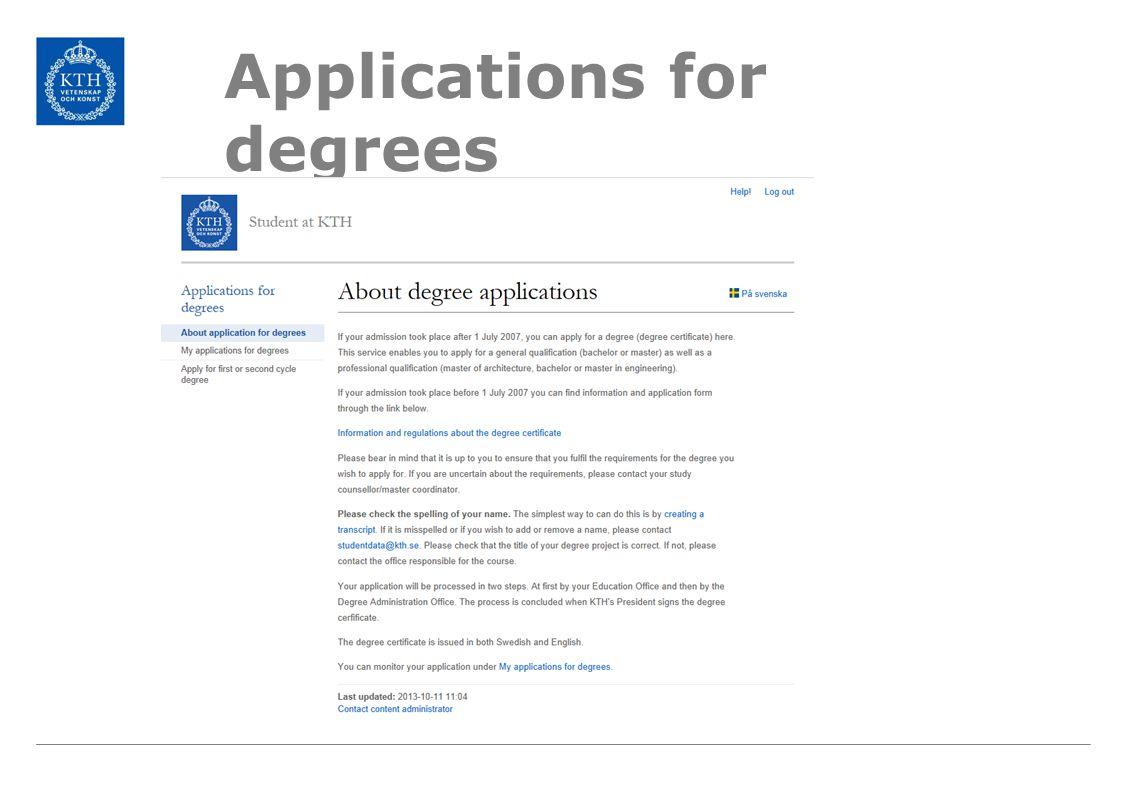 Applications for degrees