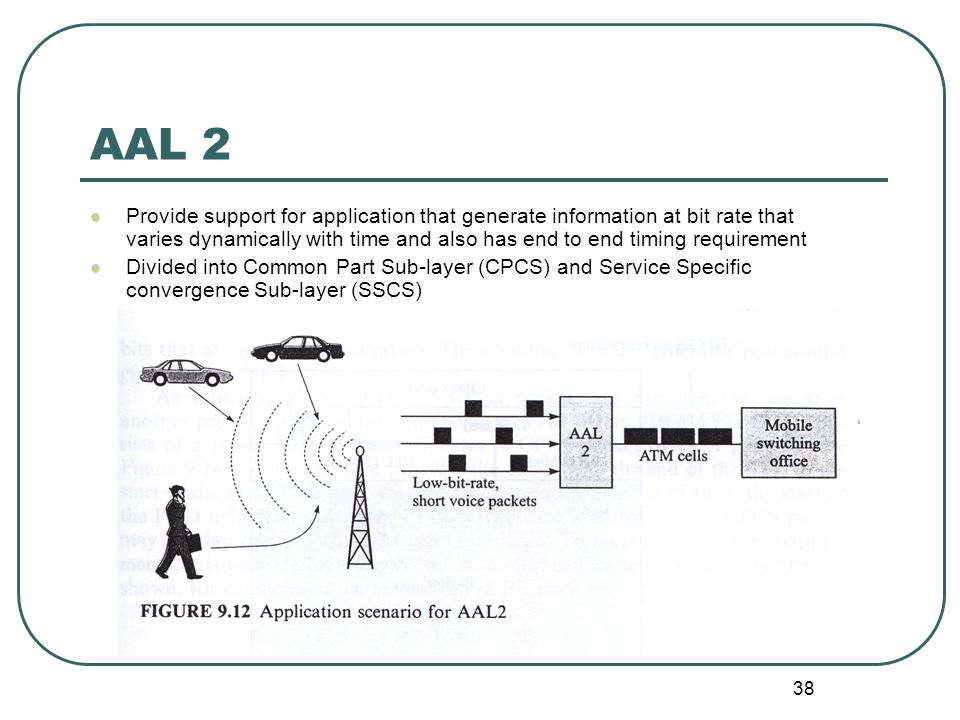 38 AAL 2 Provide support for application that generate information at bit rate that varies dynamically with time and also has end to end timing requirement Divided into Common Part Sub-layer (CPCS) and Service Specific convergence Sub-layer (SSCS)