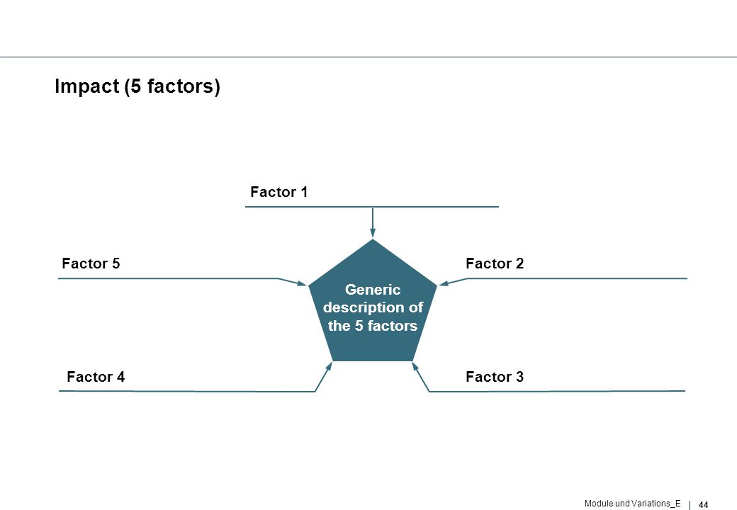 44 Module und Variations_E Impact (5 factors) Factor 3 Factor 2 Factor 4 Factor 5 Generic description of the 5 factors Factor 1