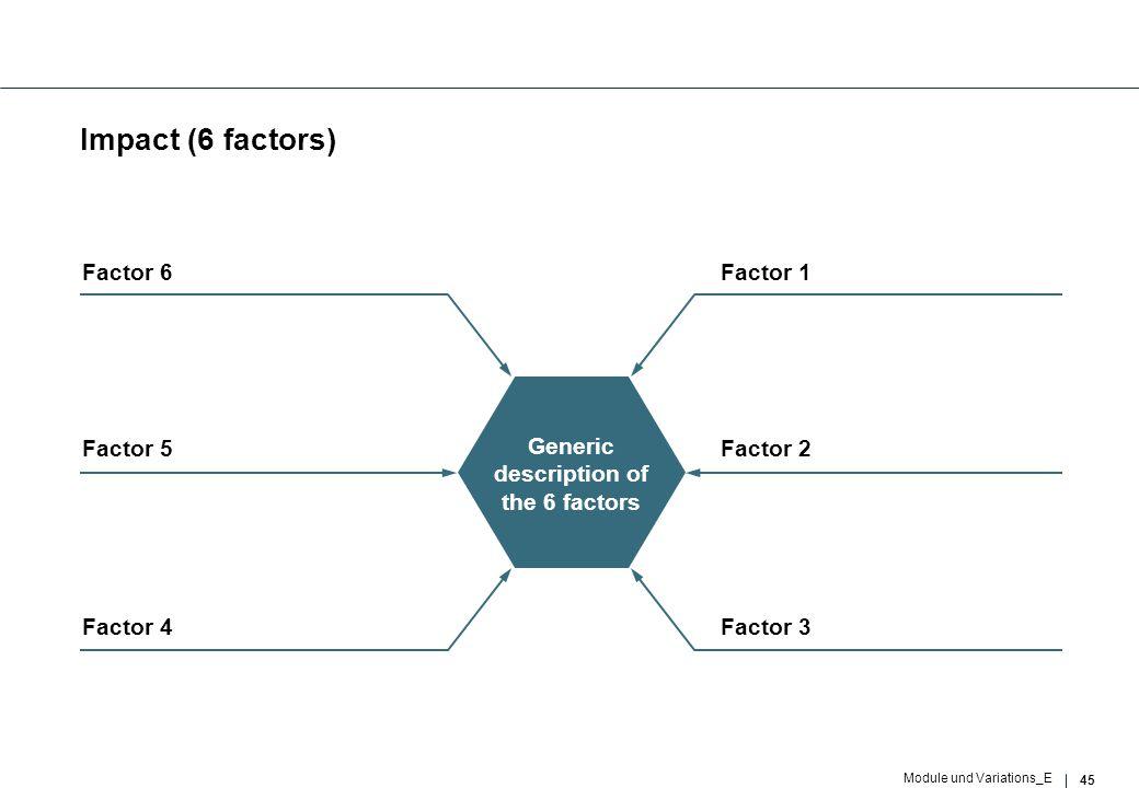 45 Module und Variations_E Impact (6 factors) Factor 2 Generic description of the 6 factors Factor 3 Factor 1 Factor 5 Factor 4 Factor 6