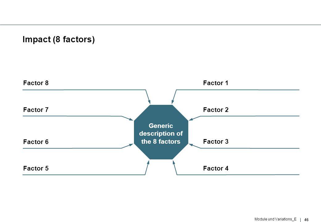 46 Module und Variations_E Impact (8 factors) Factor 3 Generic description of the 8 factors Factor 2 Factor 6 Factor 7 Factor 4Factor 5 Factor 1Factor