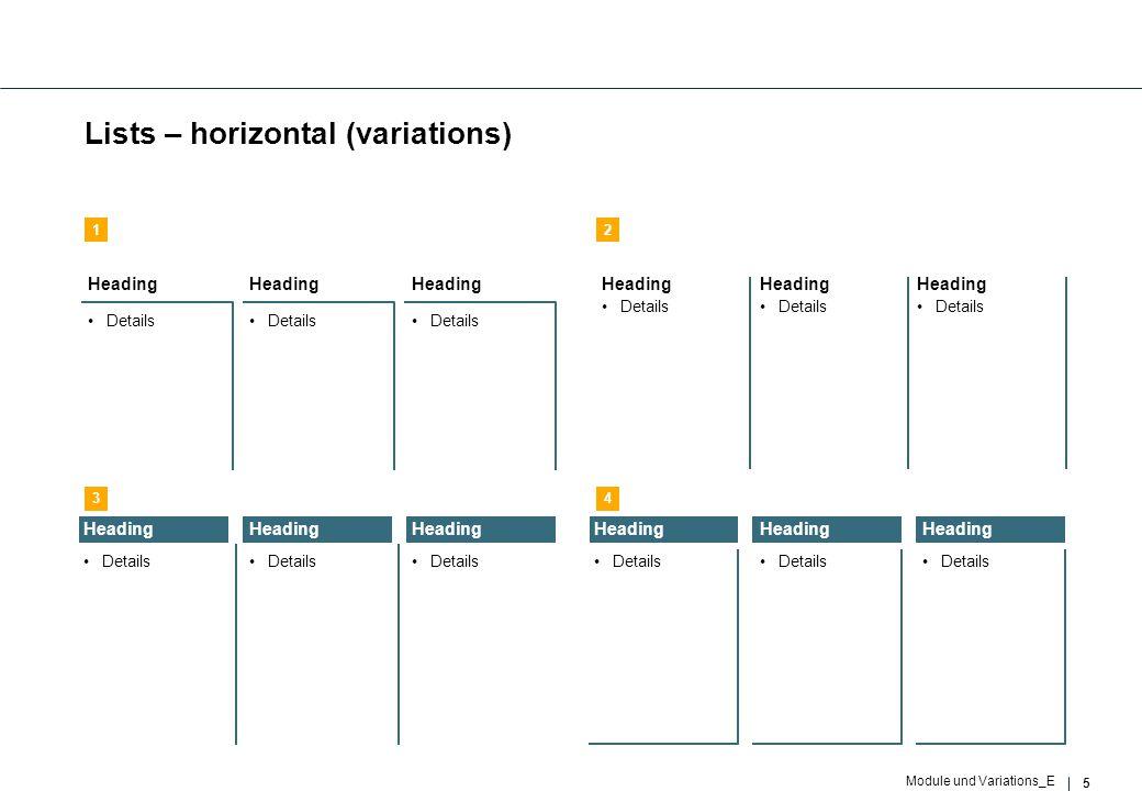 6 Module und Variations_E Lists – vertical (variations) …… …… …… …… …… …… …… …… …….... 12 34