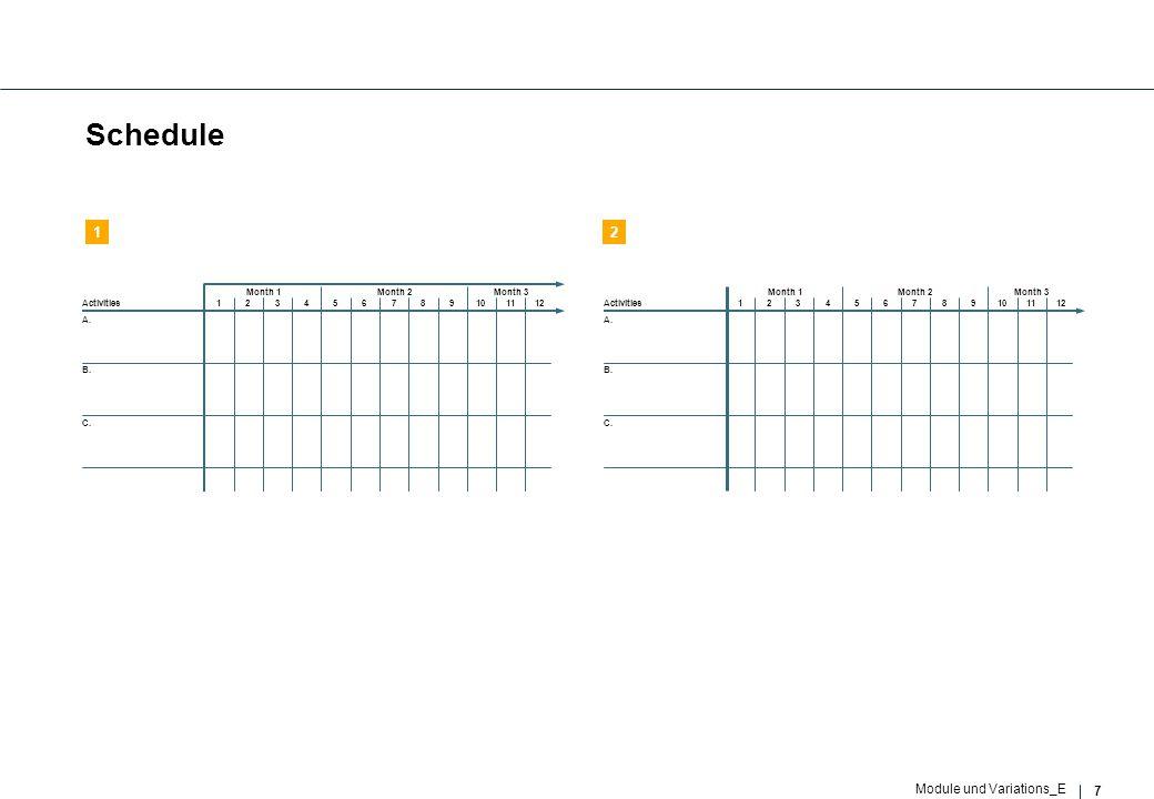 7 Module und Variations_E Schedule 123456789101112 Month 1Month 2Month 3 Activities A. B. C. 123456789101112 Month 1Month 2Month 3 Activities A. B. C.