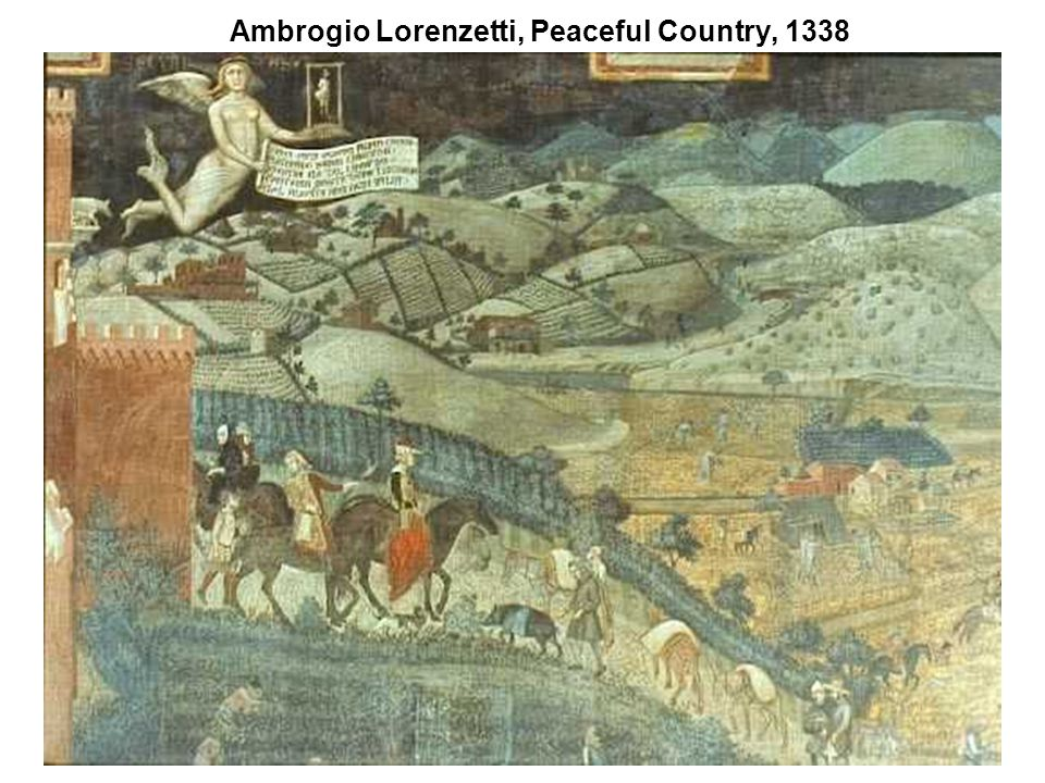 Ambrogio Lorenzetti, Peaceful Country, 1338