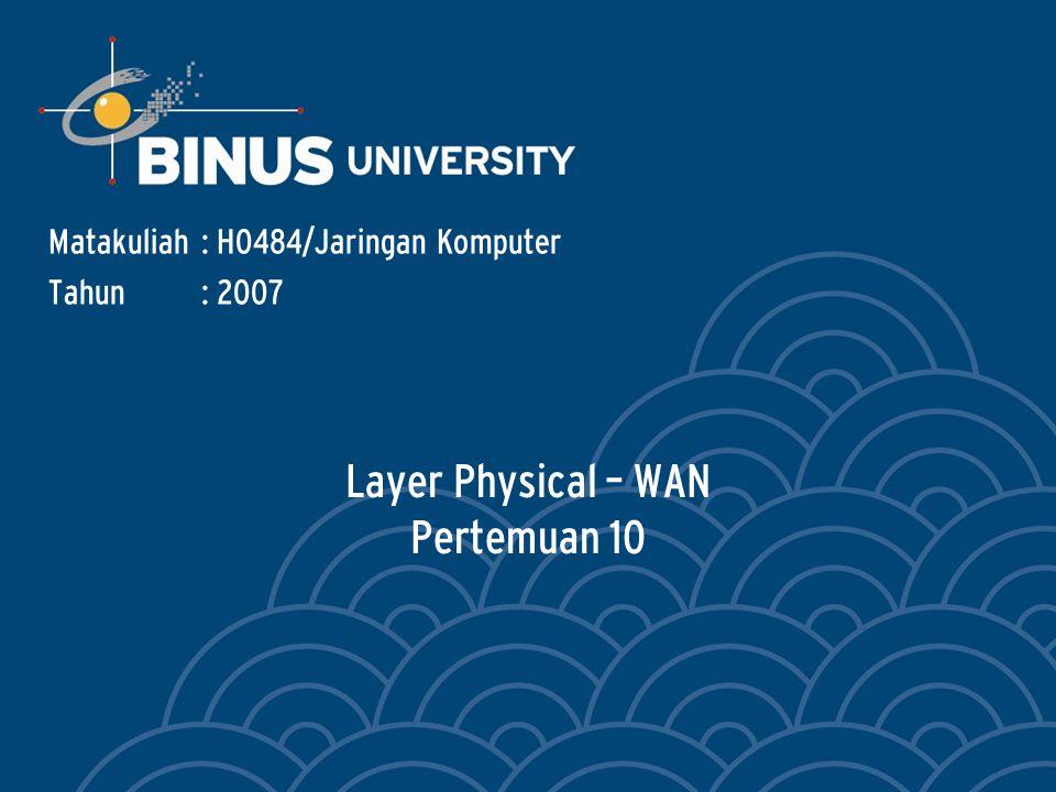 Bina Nusantara Learning Outcomes Pada akhir pertemuan ini, diharapkan mahasiswa akan mampu : Menggunakan Standard Physical Layer untuk WAN