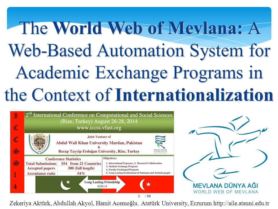 The World Web of Mevlana: A Web-Based Automation System for Academic Exchange Programs in the Context of Internationalization Zekeriya Aktürk, Abdullah Akyol, Hamit Acemoğlu.