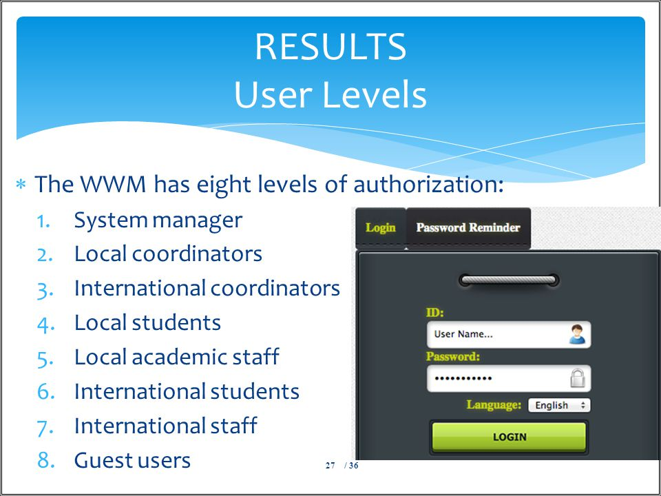  The WWM has eight levels of authorization: 1.System manager 2.Local coordinators 3.International coordinators 4.Local students 5.Local academic staff 6.International students 7.International staff 8.Guest users / 3627 RESULTS User Levels