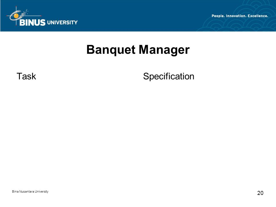 Bina Nusantara University 20 Banquet Manager TaskSpecification