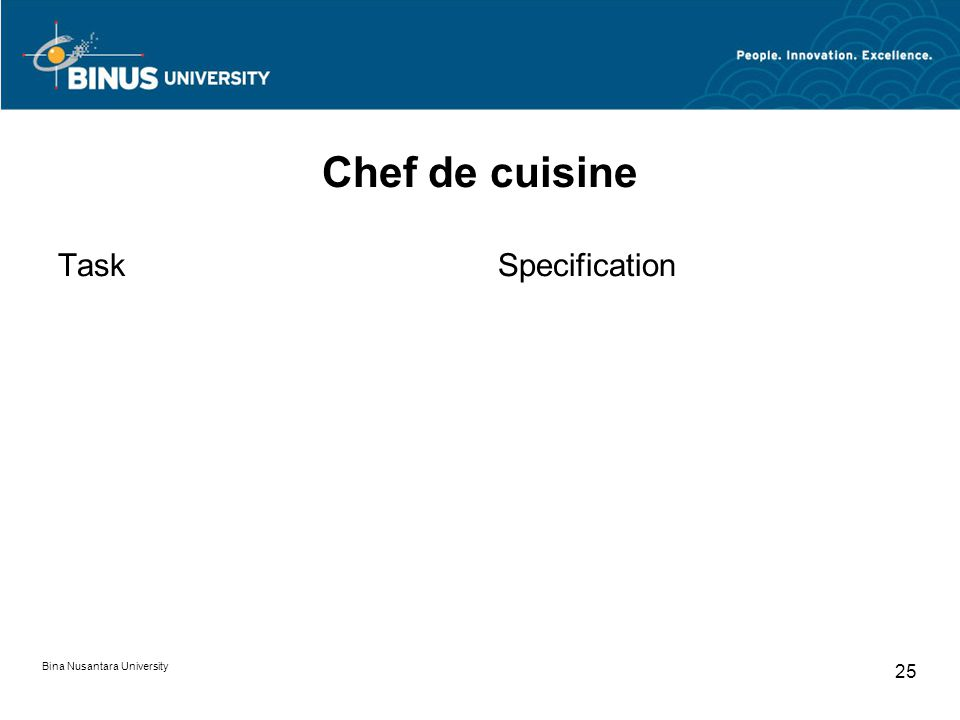 Bina Nusantara University 25 Chef de cuisine TaskSpecification