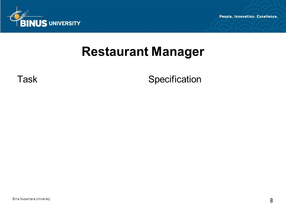 Bina Nusantara University 8 Restaurant Manager TaskSpecification
