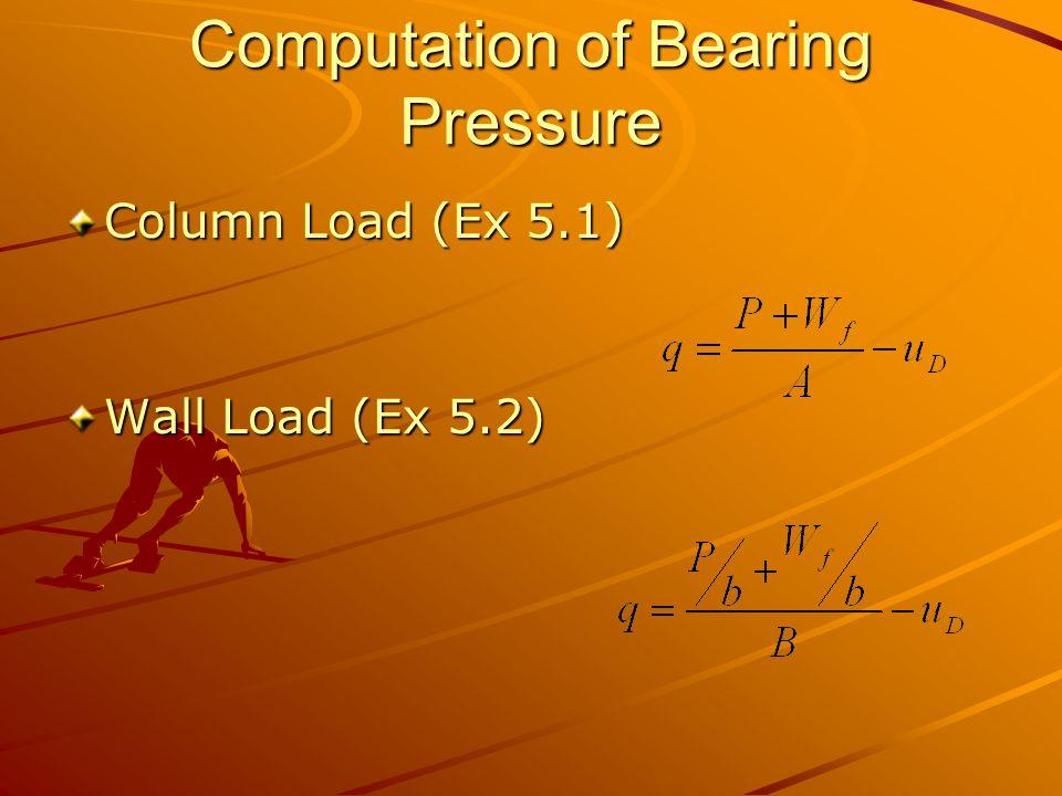 Computation of Bearing Pressure Column Load (Ex 5.1) Wall Load (Ex 5.2)
