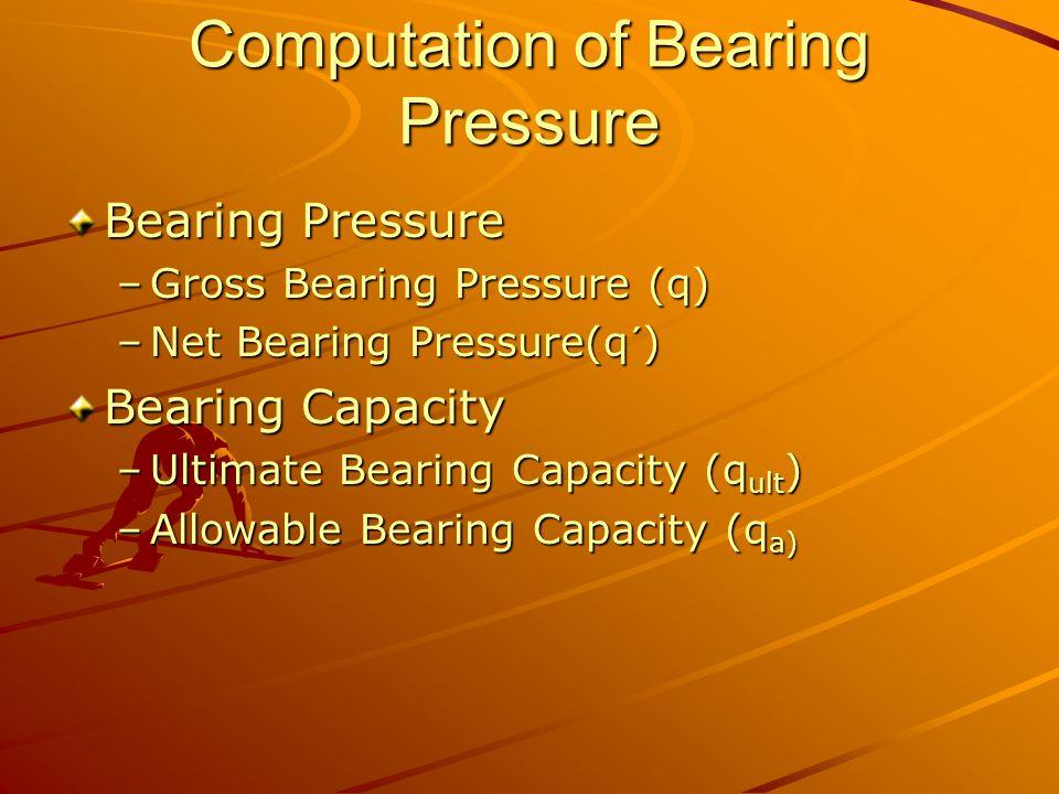 Computation of Bearing Pressure Bearing Pressure –Gross Bearing Pressure (q) –Net Bearing Pressure(q´) Bearing Capacity –Ultimate Bearing Capacity (q ult ) –Allowable Bearing Capacity (q a)